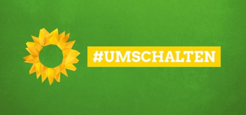 #hashtag umschalten auf grünem Grund mit Sonnenblume